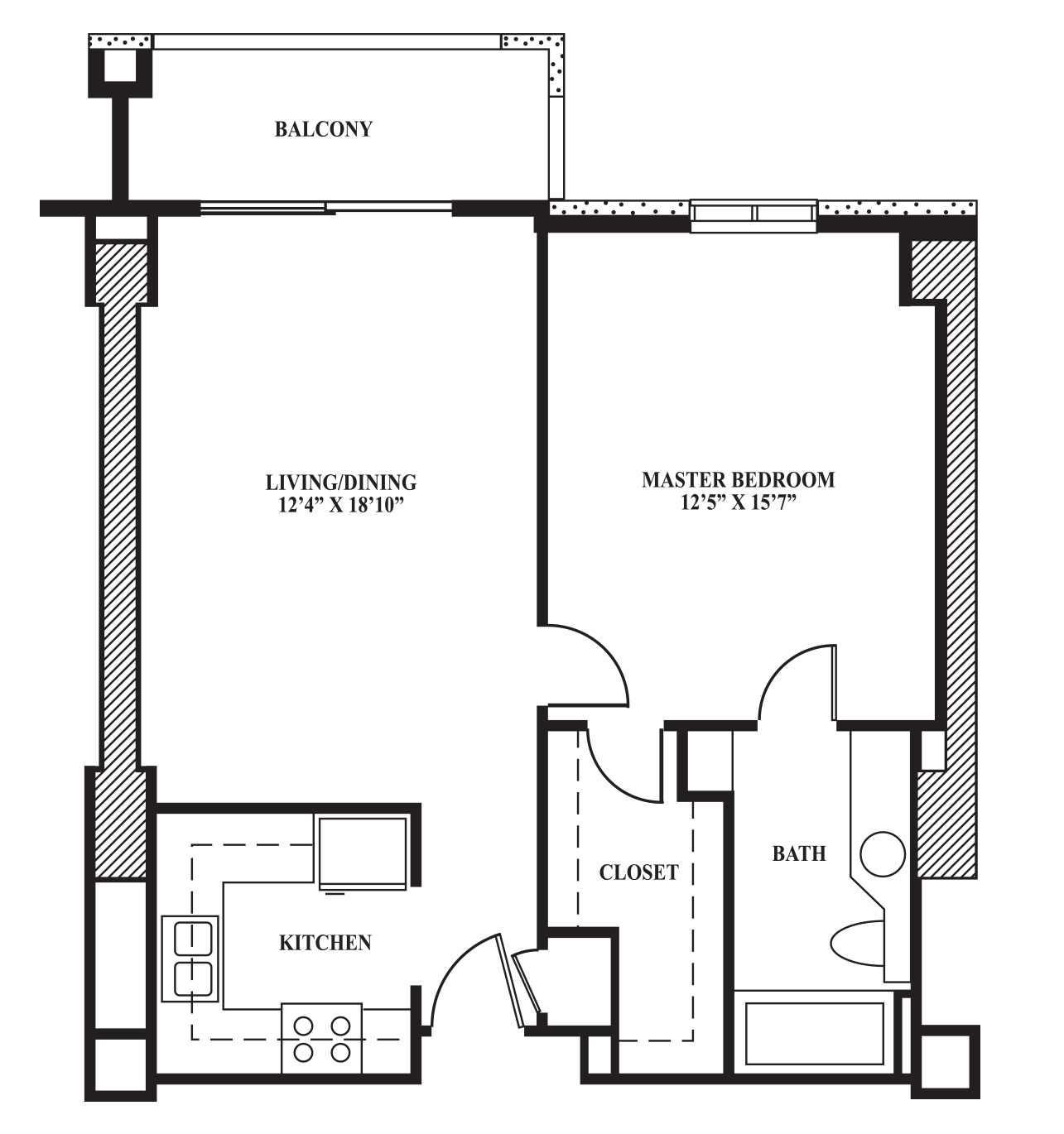 Floor plan a 688 sq ft the towers on park lane for Bathroom 8 x 8 layouts
