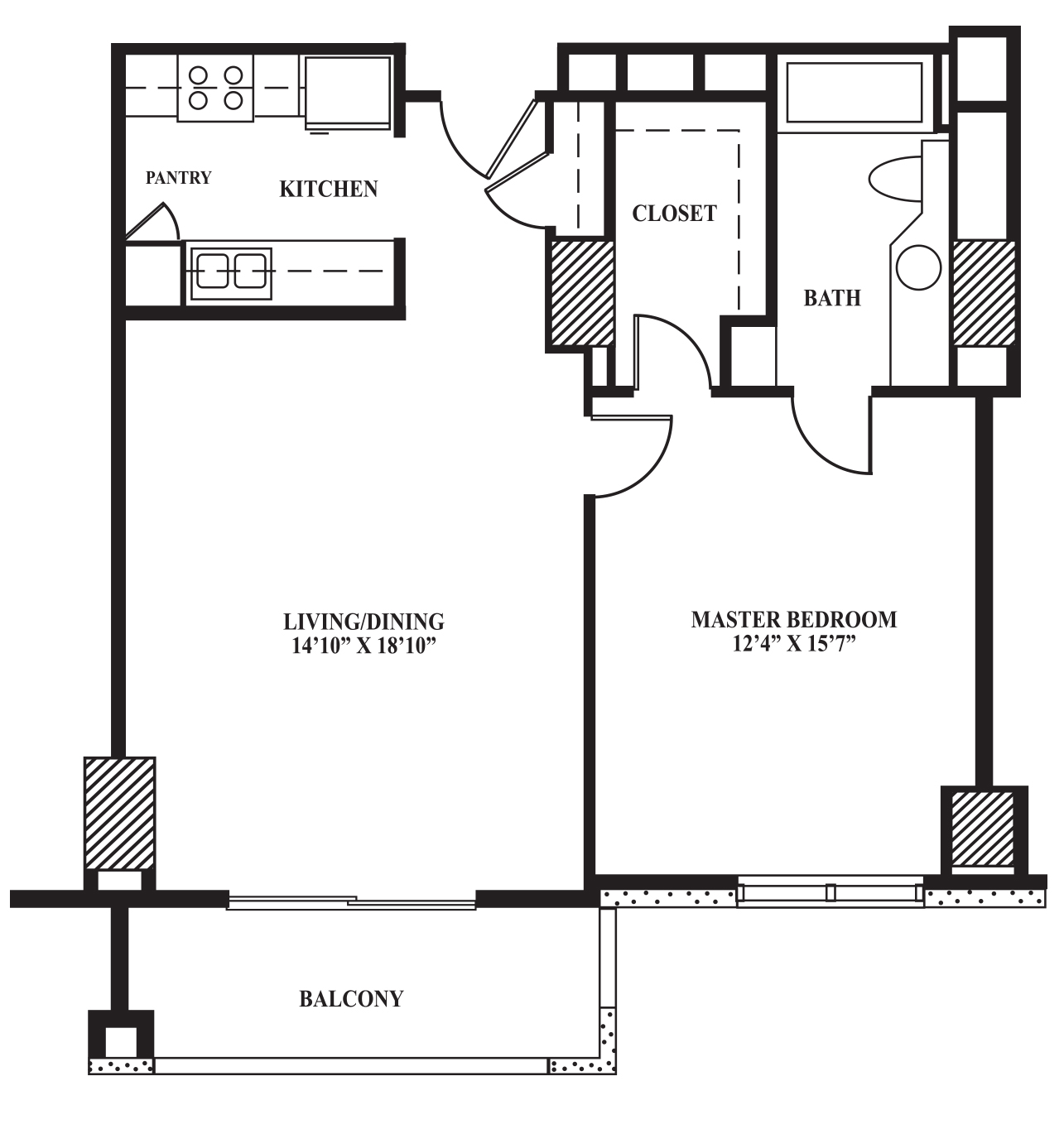 Floor Plan B 742 Sq Ft The Towers On Park Lane