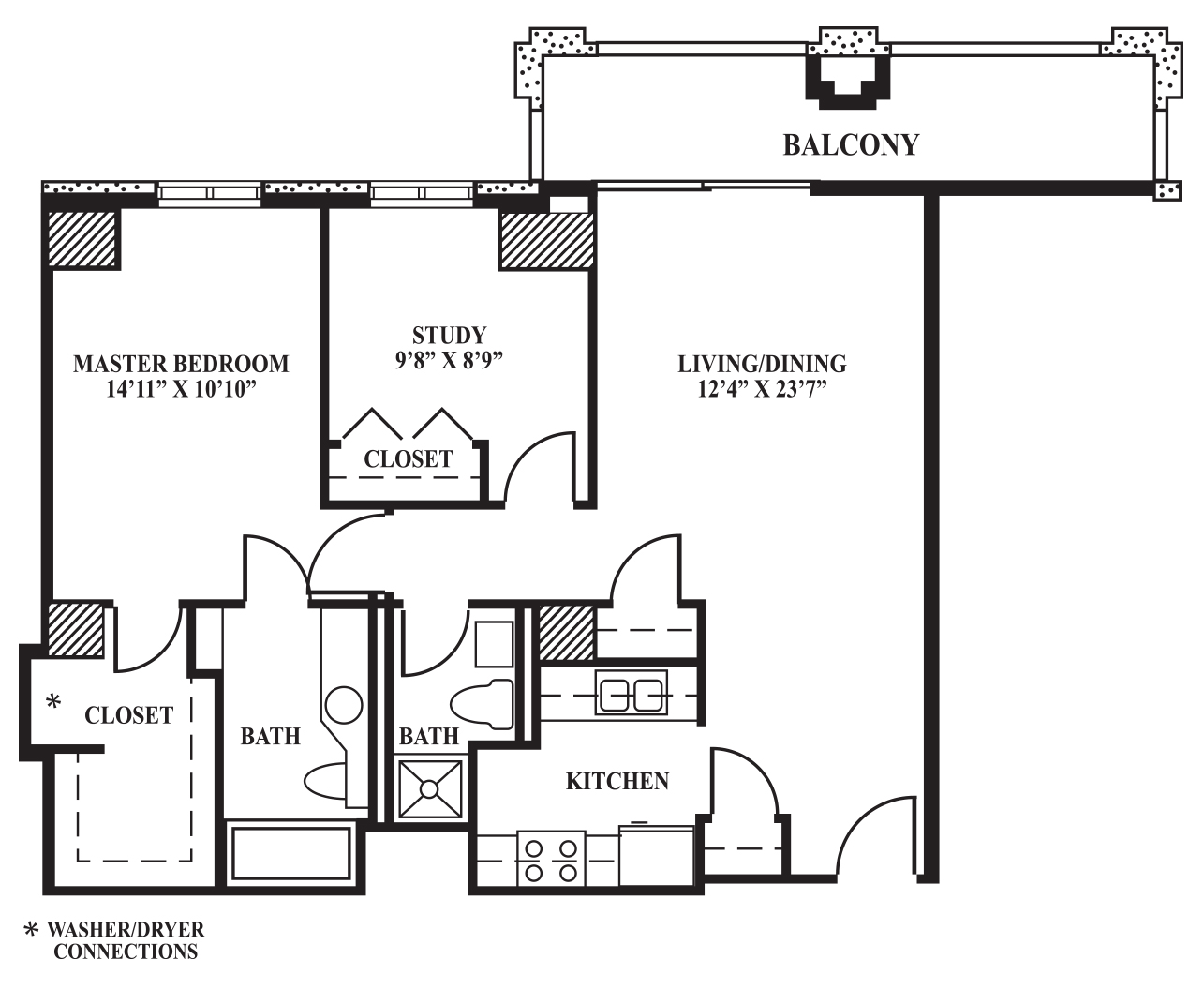 Kitchen Floor Plans With Dimensions 8 X 12 Yptzautc: 870 Sq Ft - The Towers On Park Lane