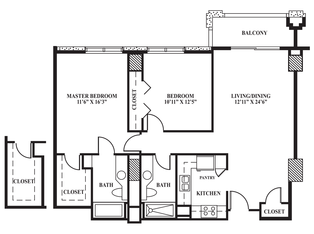 Floor Plan D | 1,034 sq ft - The Towers on Park Lane