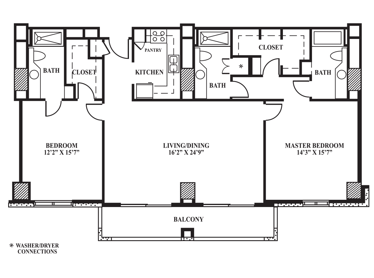 Floor Plan H 1 408 Sq Ft The Towers On Park Lane