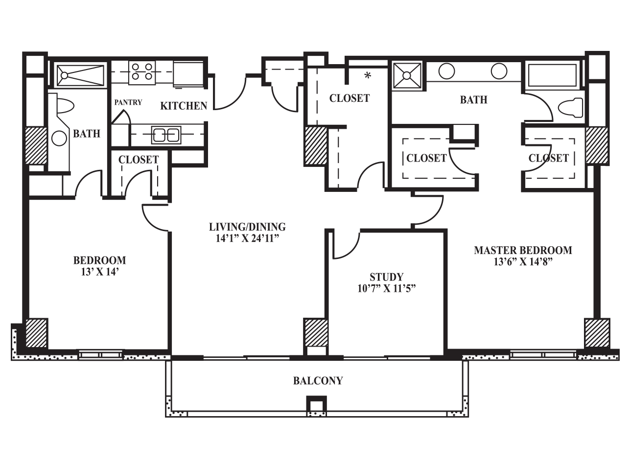 Master bedroom floor plans with study for Master floor